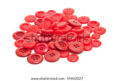 a pile of red buttons on a white background - stock photo