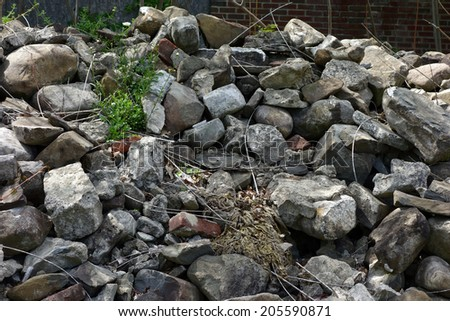 A pile of rocks, rubble and debris.                  - stock photo