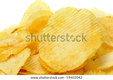 a pile of ruffled potato chips isolated on a white background