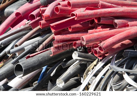a pile of scrap plastic cables - stock photo