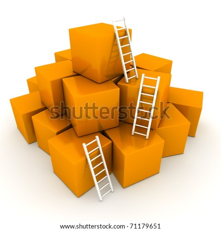 a pile of shiny orange boxes - three bright white ladders are used to climb to the top - stock photo