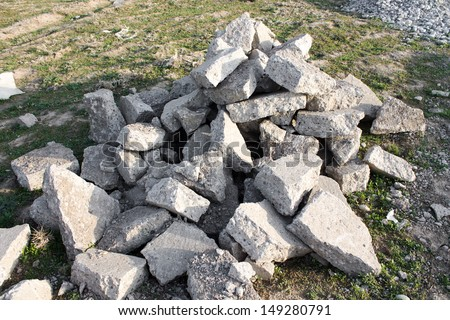 a pile of smashed concrete - stock photo