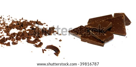 a pile of solid and grated chocolate isolated on white