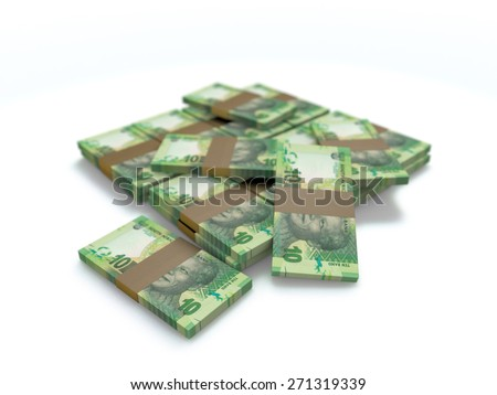 a pile of south african ten rand cash money on white