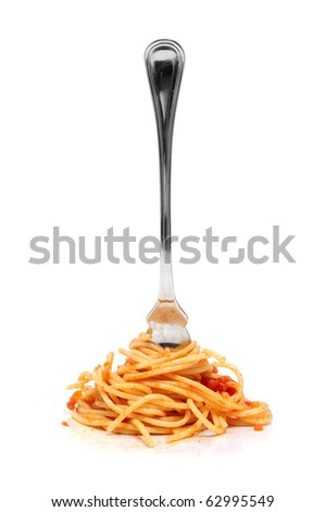 a pile of spaghetti rolled in a fork isolated on a white background - stock photo
