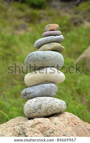 A pile of stacked stones - stock photo