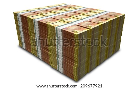 A pile of stacked wads of south african rand banknotes on an isolated background