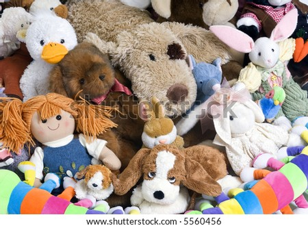 A pile of stuffed animials for a childs room - stock photo