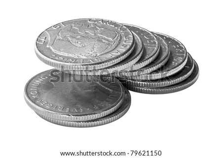 A pile of Swedish Crones. Isolated on white. Clipping path is included. - stock photo