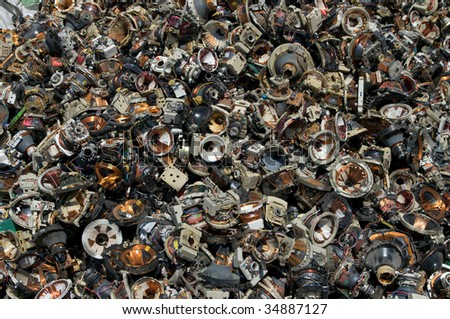 A pile of television speakers for recycling - stock photo