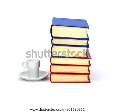A pile of the books, saucer and cup isolated on white background