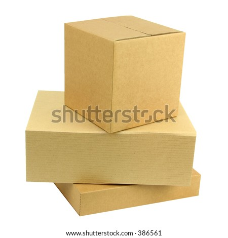 A pile of three closed boxes with workpath - stock photo