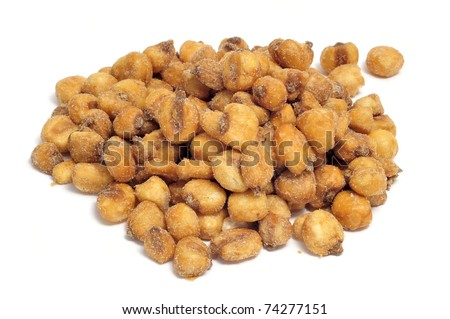 a pile of toasted salted corn on a white background - stock photo