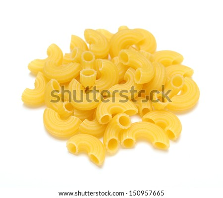 a pile of tube pasta on white background  - stock photo