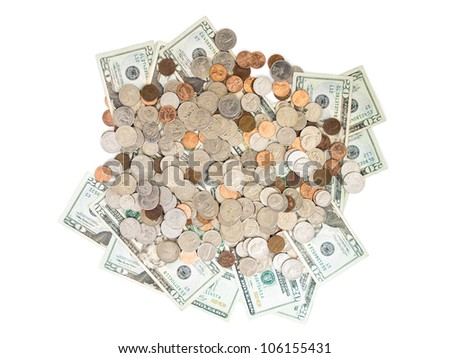 A  pile of twenty dollar bills and coins. - stock photo