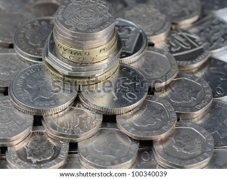 A pile of uk coins