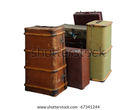 A pile of vintage suitcases, isolated on a pure white background - stock photo