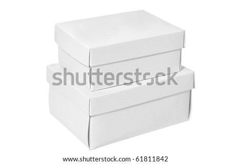 A pile of white boxes isolated on a clean white background.