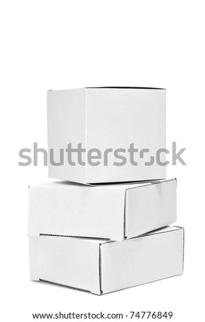 a pile of white cardboard boxes on a white background - stock photo