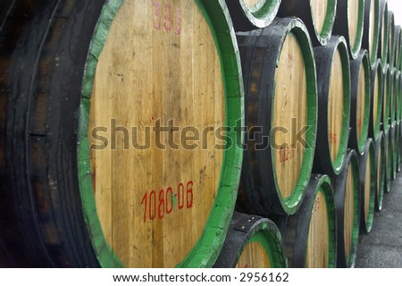 A pile of wine barrels on madeira wine-yard