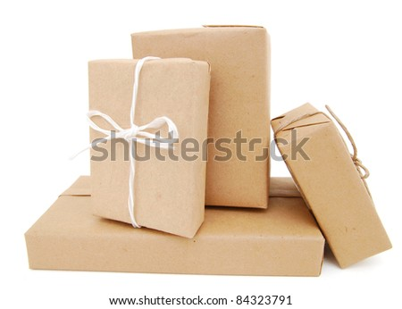 A pile of wrapping boxes - stock photo