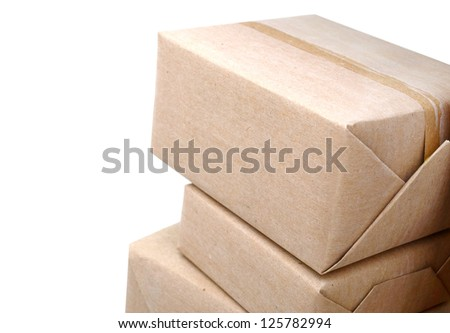 A pile of wrapping crate boxes