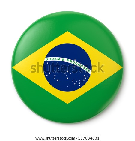 A pin button with the Brazilian flag. Isolated on white background with clipping path.