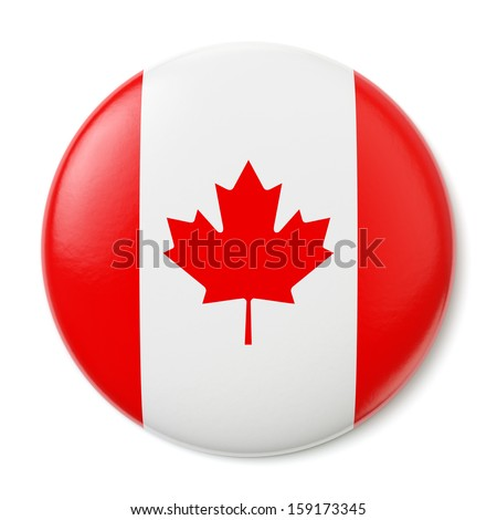 A pin button with the flag of Canada. Isolated on white background with clipping path. - stock photo