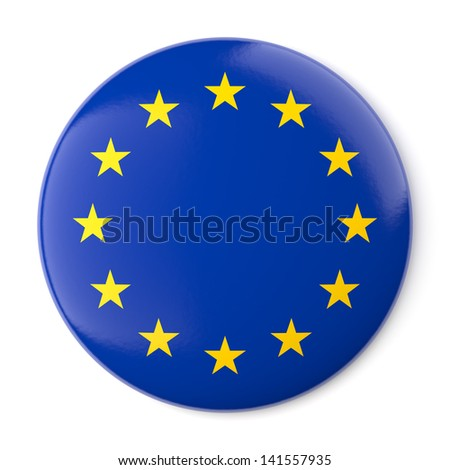 A pin button with the flag of Europe. Isolated on white background with clipping path. - stock photo