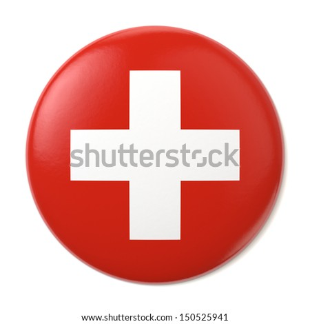 A pin button with the flag of Switzerland. Isolated on white background with clipping path.