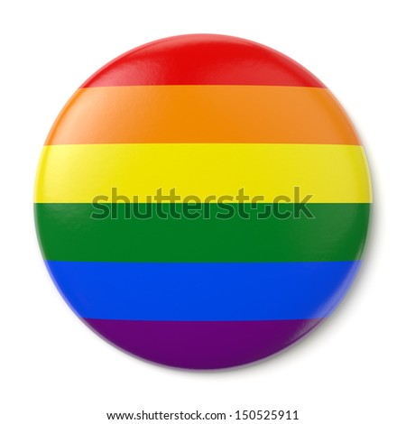 A pin button with the flag of the LGBT movement. Isolated on white background with clipping path. - stock photo