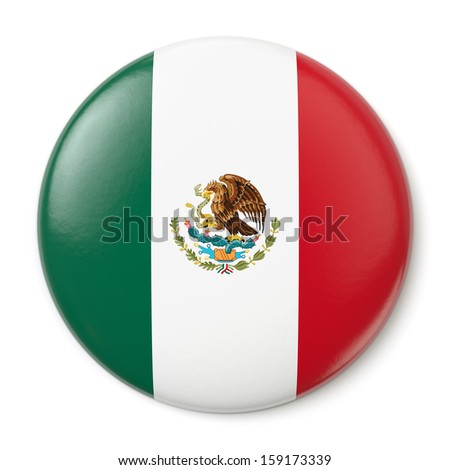 A pin button with the flag of the United Mexican States. Isolated on white background with clipping path. - stock photo