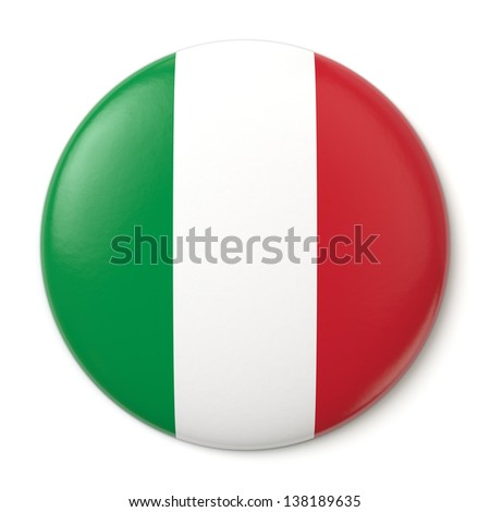 A pin button with the Italian flag. Isolated on white background with clipping path.