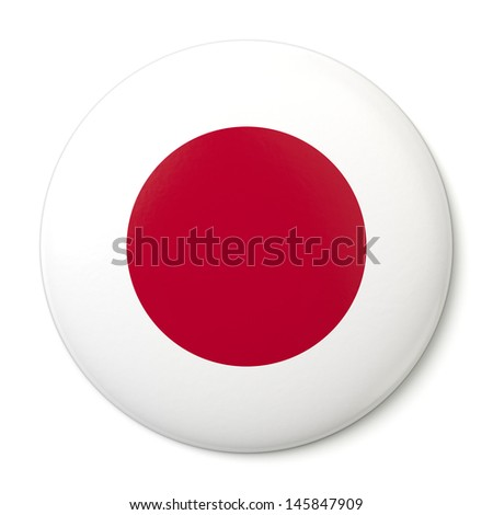 A pin button with the Japanese flag. Isolated on white background with clipping path.