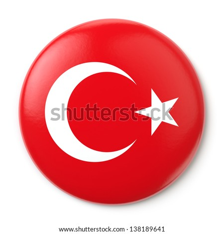 A pin button with the Turkish flag. Isolated on white background with clipping path. - stock photo