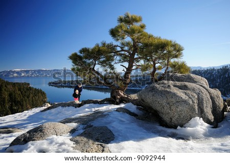 A pine on the rocks at Emerald Bayviewpoint, Lake Tahoe with mother and daughter tourists in the background having fun. - stock photo