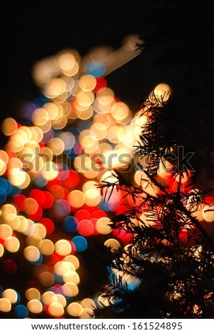 A pine tree is illuminated by multi-colored lights in the night sky. - stock photo