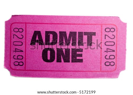 A pink admit one ticket isolated ona white background - stock photo