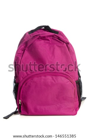 A pink backpack on a white background - stock photo