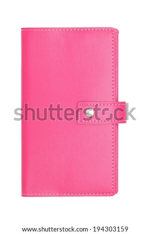 A pink billfold with a metal snap in the center. - stock photo