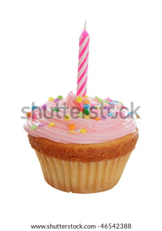 A pink birthday cupcake isolated on white background. - stock photo