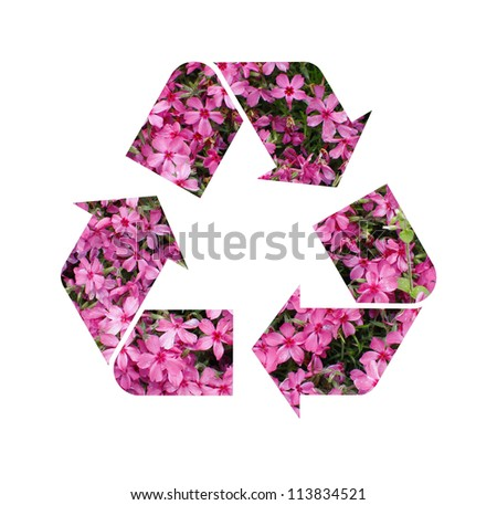 A pink floral Recycle Symbol Isolated On a White Background - stock photo