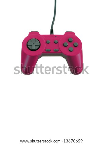 A pink game controller isolated over white with plenty of copy space. This file includes the clipping path. - stock photo