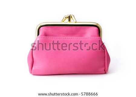 A pink leather purse.