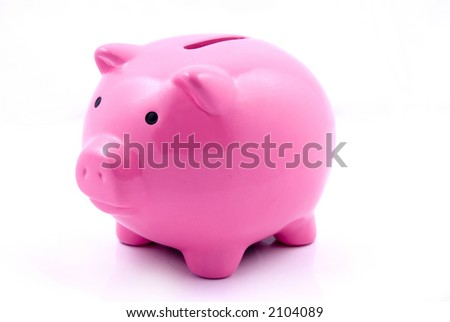 A pink piggy bank for coin deposits - stock photo