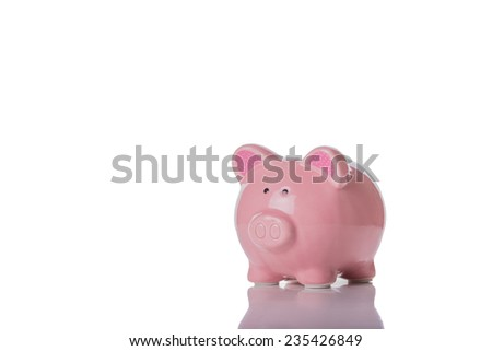 A Pink Piggy Bank Isolated on a White Background,  - stock photo