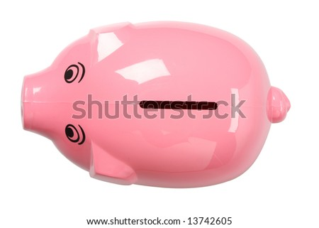 A pink piggy bank isolated on white, shot from above, clipping path included - stock photo