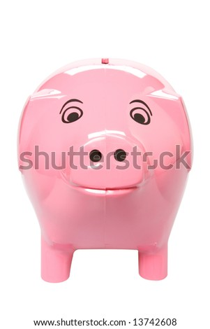 A pink piggy bank isolated on white, shot from the front, clipping path included