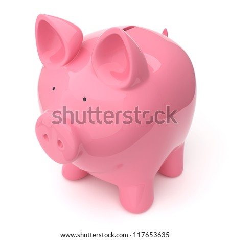 A pink piggy bank (money box) on white background. Computer generated image with clipping path.