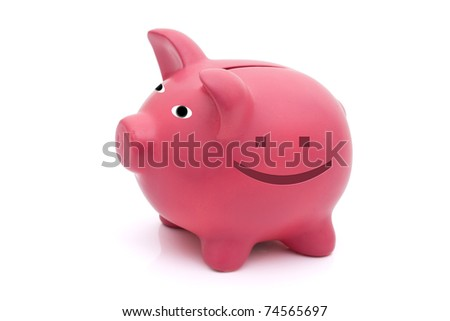 A pink piggy bank with a happy face on a white background, Happy with your finances - stock photo